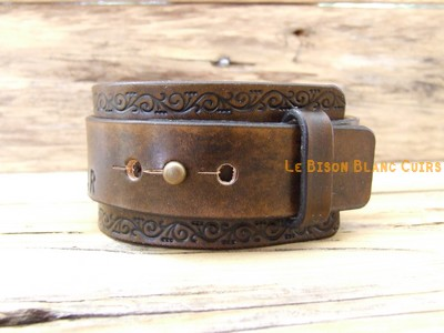 Bracelet de force FRISES FLORALES bouton de COL inscriptions MARRON ANTIQUE (2)