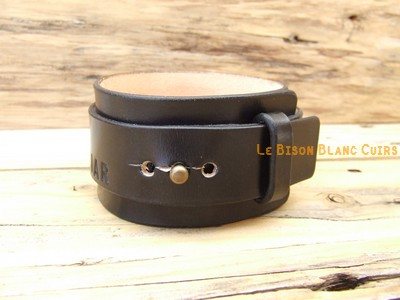 Bracelet de force en cuir bouton de COL inscriptions NOIR ANTIQUE (3)