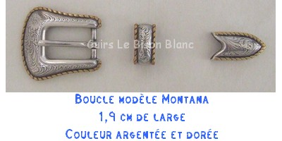 Fiche boucle montana pour ceinture en cuir country western artisanale made in France
