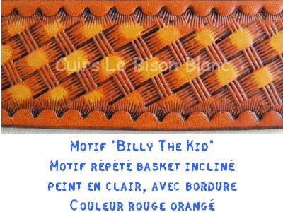 Fiche motif Billy the kid rouge orangé 3,8 cm