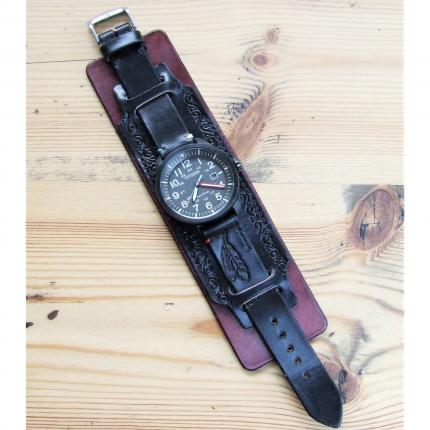 Bracelet de montre large en cuir, type force, noir antique et acajou, cousu main, 100 % made in France